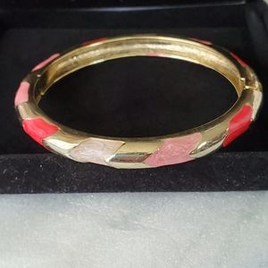 Beautiful Goldtone Pink Cuff Bracelet